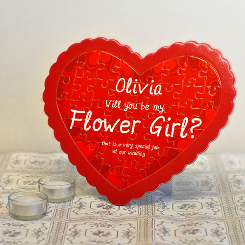 Flower Girl Personalized Heart Shape Puzzle