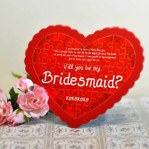 Bridesmaid Personalized Heart Shape Puzzle