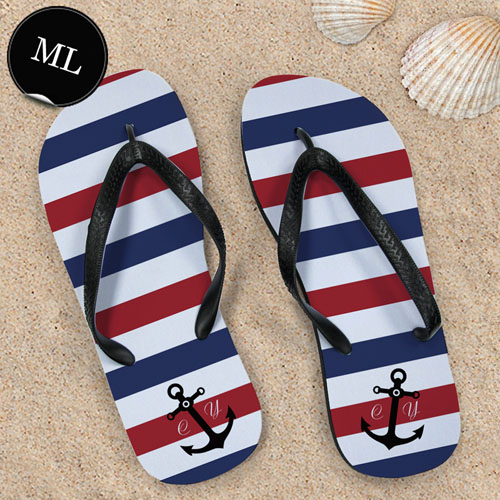 Create Your Own Navy Red White Stripes Anchor Men Large Flip Flops