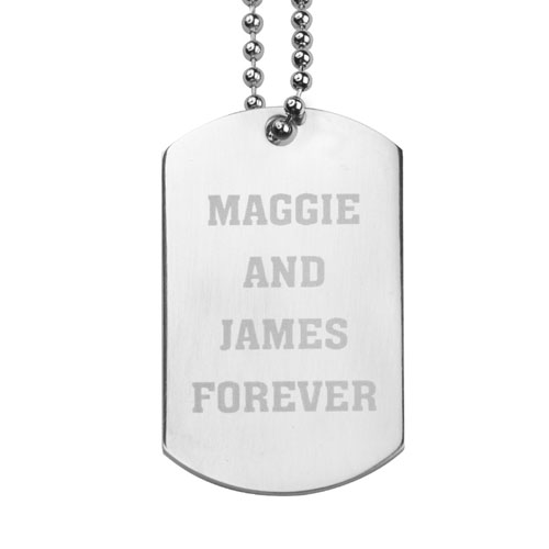 Forever Personalized Message Engraved Dog Tag Pendant