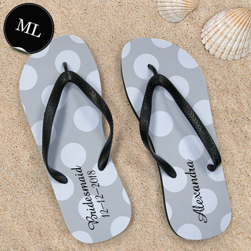 Create Your Own Personalized Silver Grey Polka Dots Men Large Flip Flops