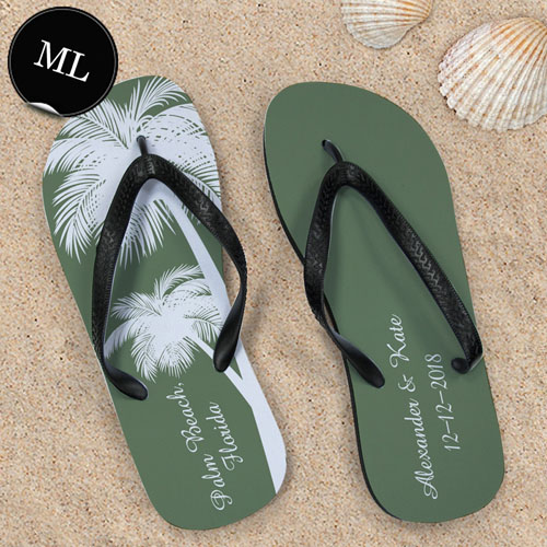 Create Your Own Personalized Wedding Palm Tree Men Large Flip Flops