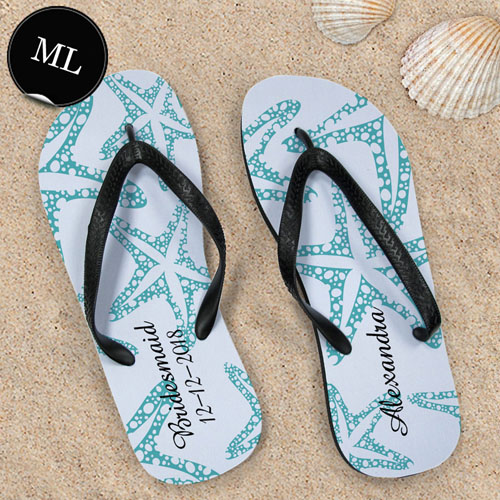 Create Your Own Aqua Starfish Personalized Men Large Flip Flops