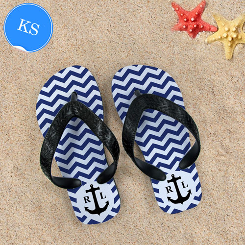 Navy Chevron Anchor Personalized Monogram Kids Small