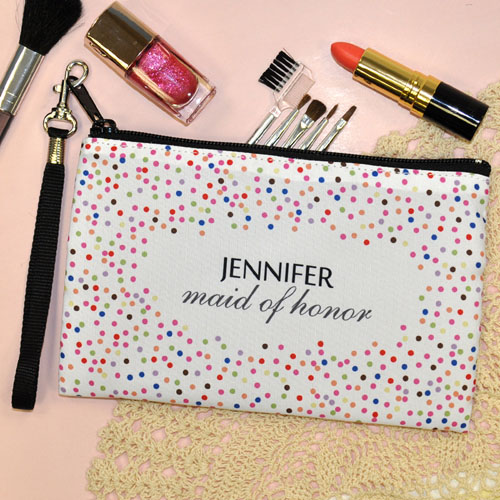 Personalized Colorful Confetti Dots For Bridal Shower Wristlet Bag (Medium Inch)
