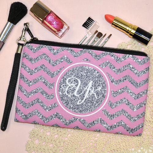 Personalized Pink Glitter Chevron Wedding Monogrammedmed Bridesmaid Gift Wristlet Bag (Medium Inch)