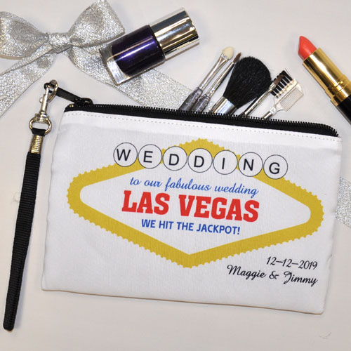 Personalized Las Vegas Wedding Bridesmaid Gift Wristlet Bag Medium Inch