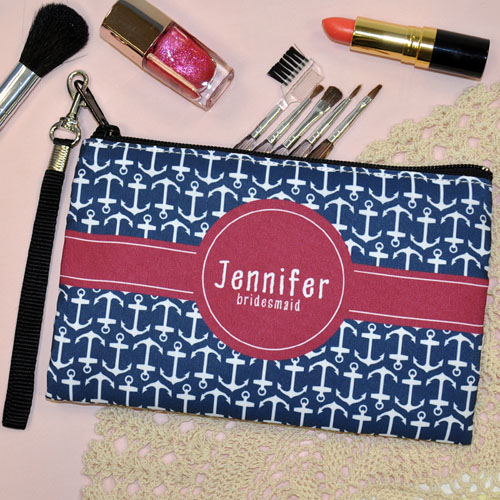 Personalized Anchor Patter Personalized Bridal Gift Wristlet Bag (Medium Inch)