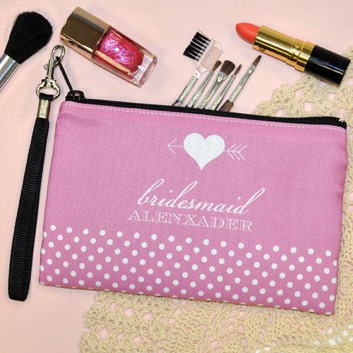 Personalized Personalized Wedding Arrow And Heart Wristlet Bag (Medium Inch)