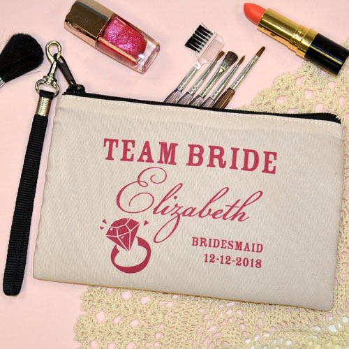 Personalized Pink Diamond Personalized Wedding Wristlet Bag (Medium Inch)
