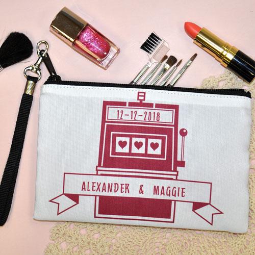 Personalized Las Vegas Jackpot Hearts Personalized Wedding Wristlet Bag (Medium Inch)