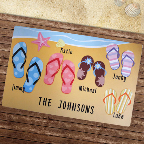 Create Your Own Personalized Flip Flops Beach House Door Mat