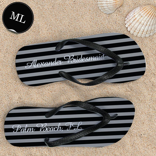Create Your Own Chic Black Stripes With Name, Men's Large Flip Flops