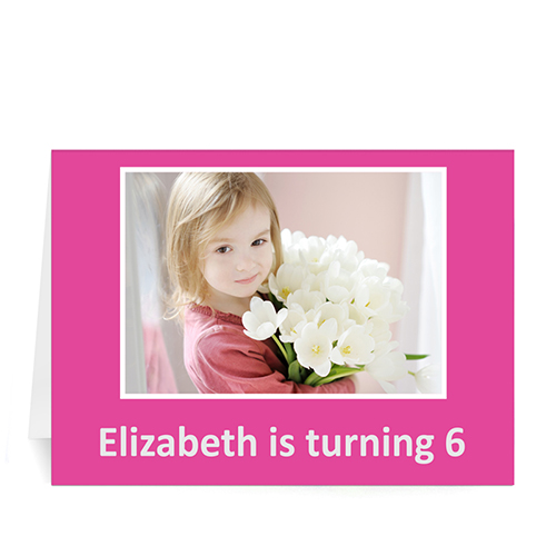 Custom Hot Pink Photo Birthday Cards, 5X7 Folded