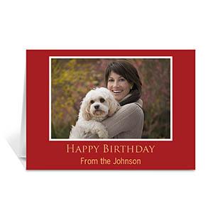 Custom Classic Red Photo Birthday Cards, 5X7 Folded