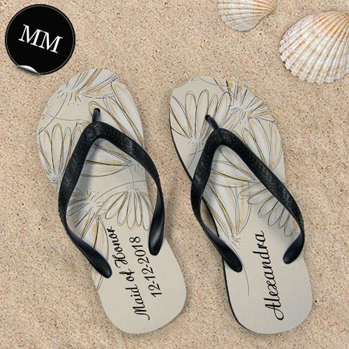 Design My Own Daisies Personalized Wedding Men Medium Flip Flop Sandals