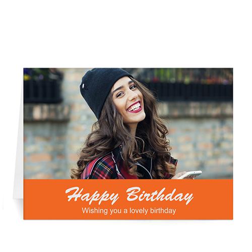 Custom Classic Orange Photo Birthday Cards, 5X7 Folded Simple