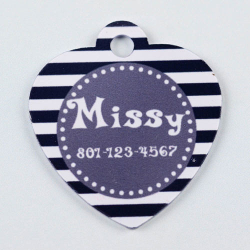Personalized Black And Gray Stripes Pattern Heart (Custom 1 Side) Dog Or Cat Name Tag