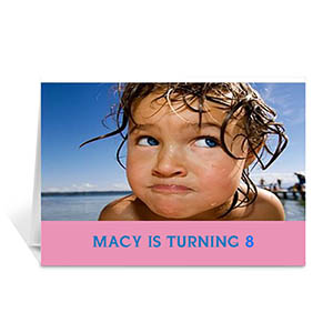 Baby Pink Photo Birthday Cards, 5x7 Folded Simple