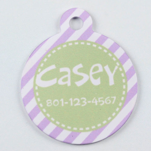 Custom Printed Purple And Lime Stripe Round (Custom 1 Side) Dog Or Cat Tag
