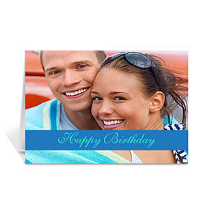 Custom Classic Blue Photo Birthday Cards, 5X7 Folded Causal