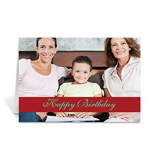 Custom Classic Red Photo Birthday Cards, 5X7 Folded Causal