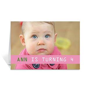Custom Baby Pink Photo Birthday Cards, 5X7 Folded Causal