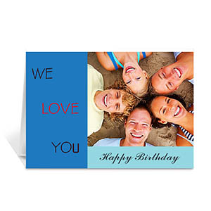 Custom Classic Blue Photo Birthday Cards, 5X7 Folded Modern