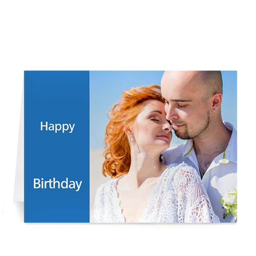 classic blue photo birthday cards small folded modern