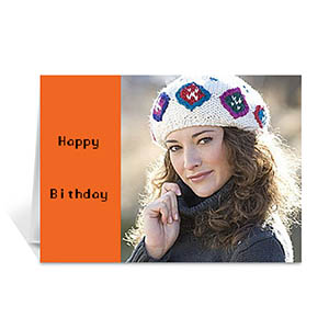 Classic Orange Photo Birthday Cards, 5x7 Folded Modern