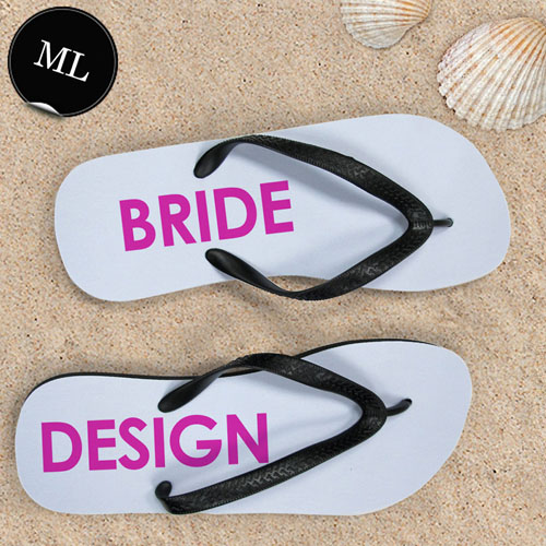 Create Your Own Bride Design Men Large Flip Flops