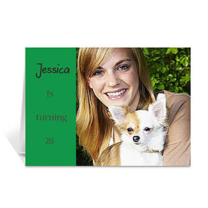 Classic Green Photo Birthday Cards, 5x7 Folded Modern