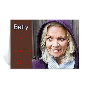 Custom Chocolate Brown Photo Birthday Cards, 5X7 Folded Modern