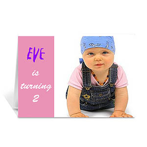 Custom Baby Pink Photo Birthday Cards, 5X7 Folded Modern