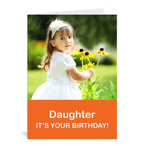 Custom Classic Orange Photo Birthday Cards, 5X7 Portrait Folded Simple