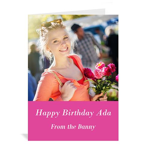 Custom Hot Pink Photo Birthday Cards, 5X7 Portrait Folded Simple