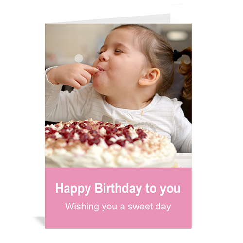 Custom Baby Pink Photo Birthday Cards, 5X7 Portrait Folded Simple