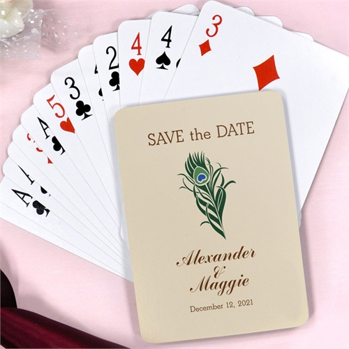 Peacock Feather Save The Date Playing Cards