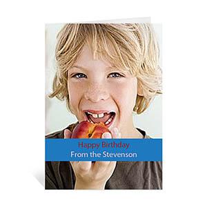 Custom Classic Blue Photo Birthday Cards, 5X7 Portrait Folded Causal
