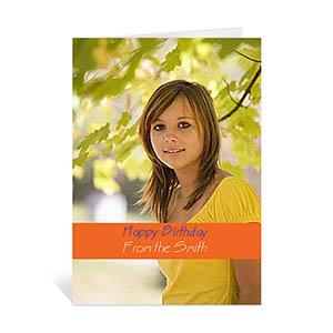 Custom Classic Orange Photo Birthday Cards, 5X7 Portrait Folded Causal