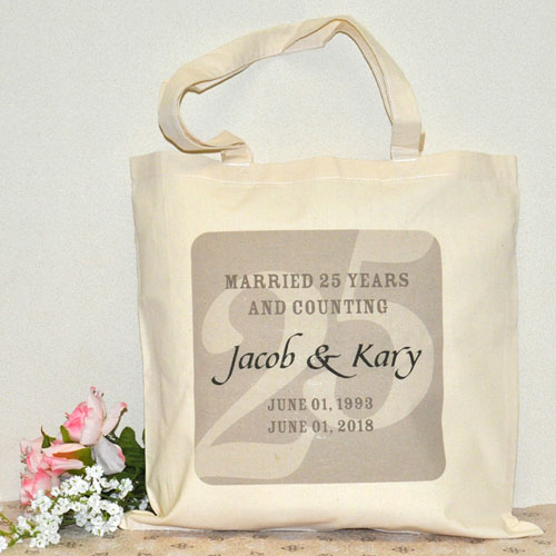 25Th Wedding Anniversary Custom Cotton Tote Bag