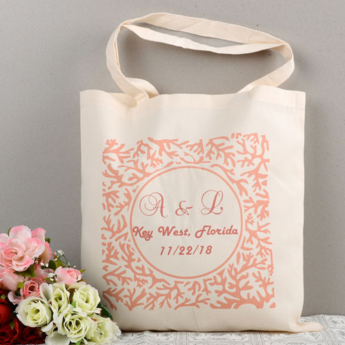 Customizable Red Floral Custom Cotton Tote Bag
