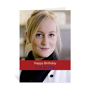 Custom Classic Red Photo Birthday Cards, 5X7 Portrait Folded Causal