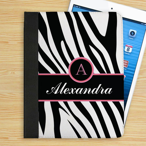 Personalized Black Zebra Pattern Personalized Name & Initial Folio Case