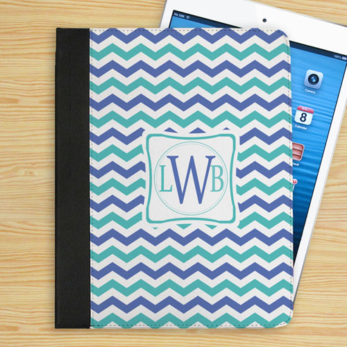 Personalized Blue And Aqua Chevron Personalized Initial Folio Case