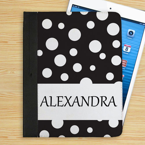 Personalized Personalized Name Black Polka Dot Folio Case