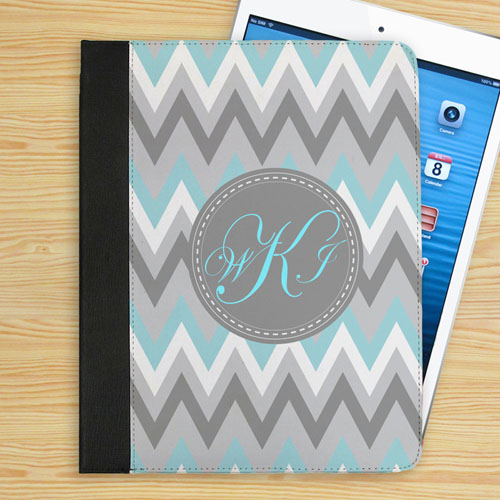 Personalized Aqua White Grey Zigzag Chevron Custom Monogrammed Folio Case