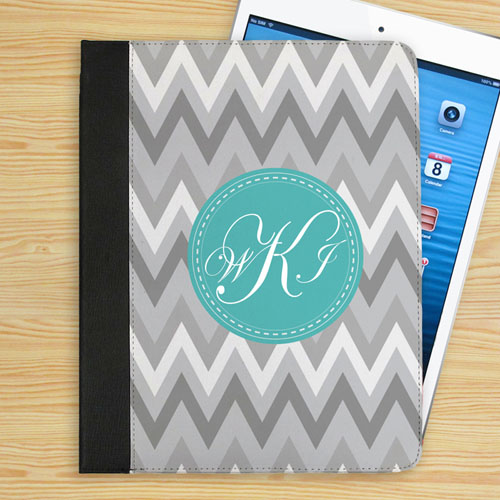 Personalized White Grey Zigzag Chevron Custom Monogrammed Folio Case