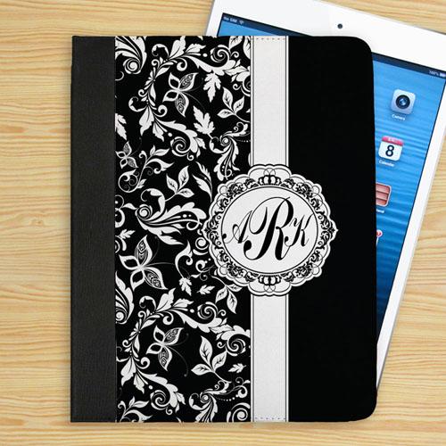 Personalized Black Damask Personalized Monogrammed Folio Case