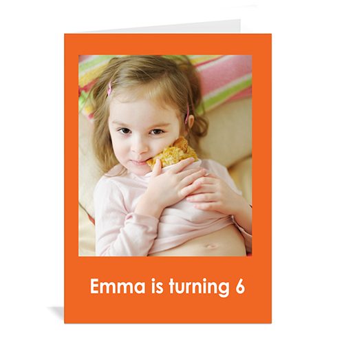 Custom Classic Orange Photo Birthday Cards, 5X7 Portrait Folded